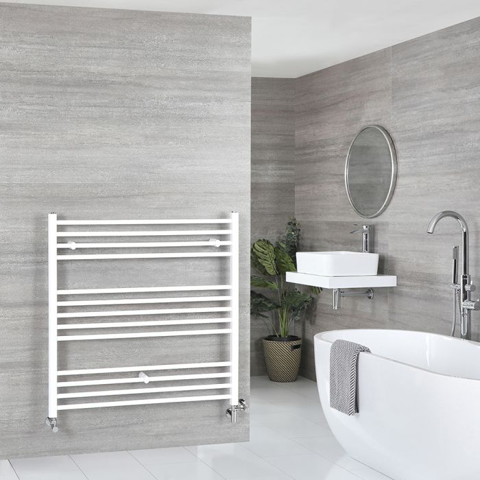 Milano Ive Dual Fuel - White Flat Heated Towel Rail - 1000mm x 1000mm