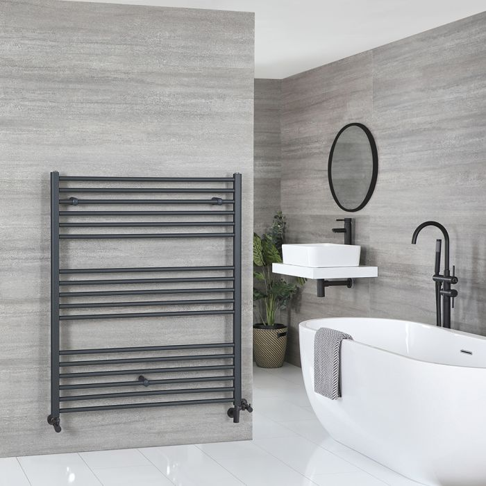 Milano Artle Dual Fuel - Anthracite Flat Heated Towel Rail - 1200mm x 1000mm