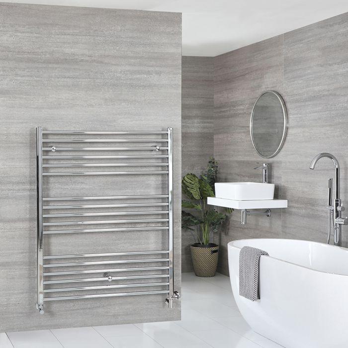 Milano Kent Dual Fuel - Chrome Flat Heated Towel Rail - 1200mm x 1000mm