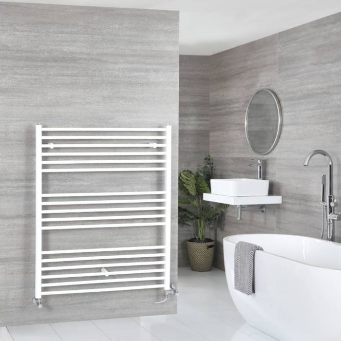 Milano Ive Dual Fuel - White Flat Heated Towel Rail - 1200mm x 1000mm