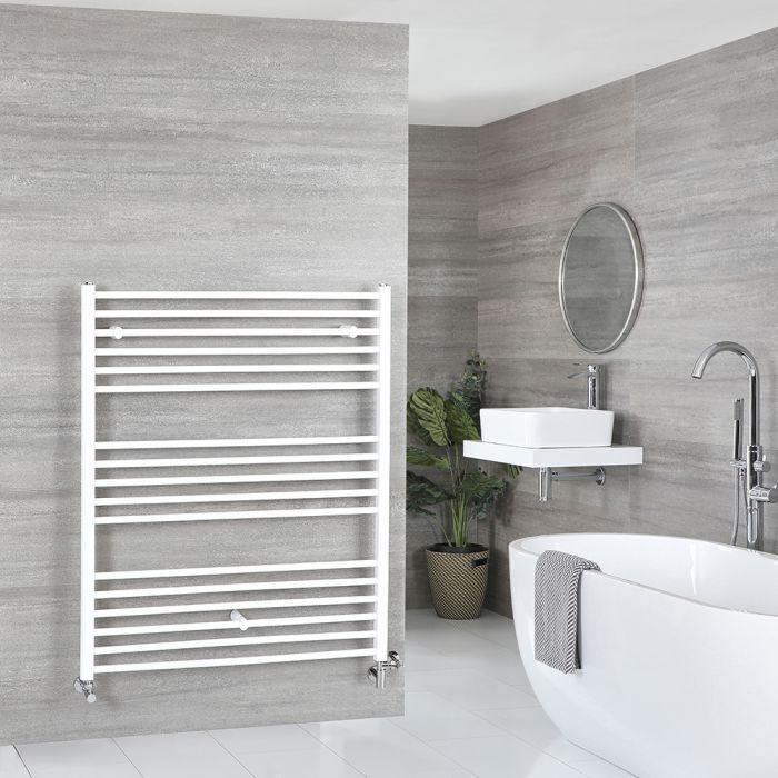Milano Ive Dual Fuel - White Flat Heated Towel Rail - 1200mm x 1000mm