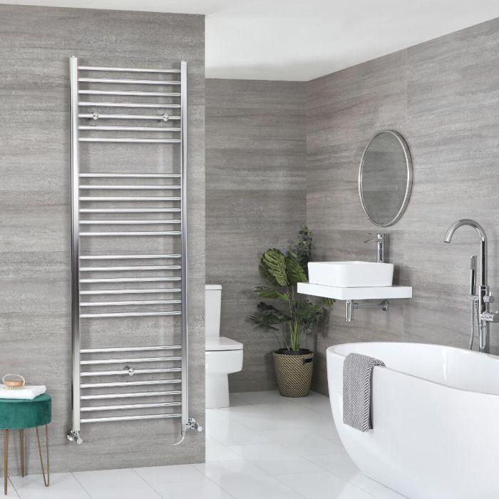 Milano Kent Dual Fuel - Chrome Flat Heated Towel Rail - Choice of Size