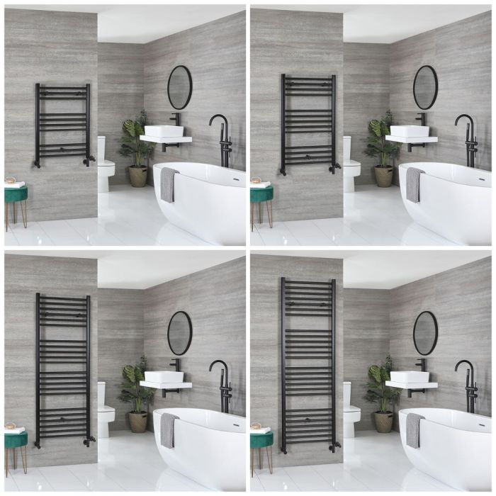 Milano Nero Dual Fuel - Black Flat Heated Towel Rail - Choice of Size