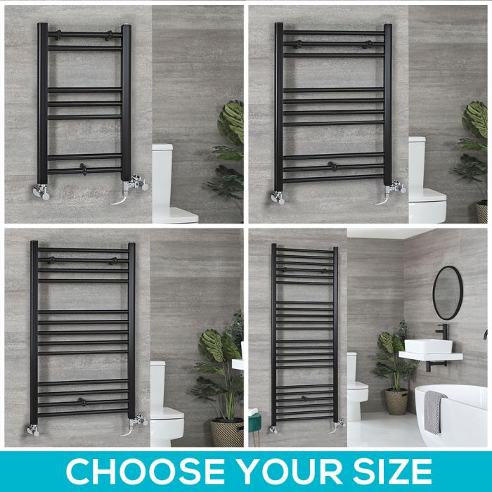 Milano Nero Dual Fuel - Black Flat Heated Towel Rail - Choice of Size