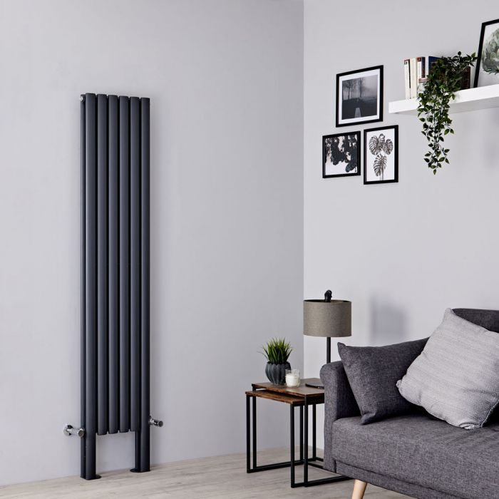 Milano Aruba Plus - Anthracite Vertical Designer Radiator with Feet - 1800mm x 354mm (Double Panel)
