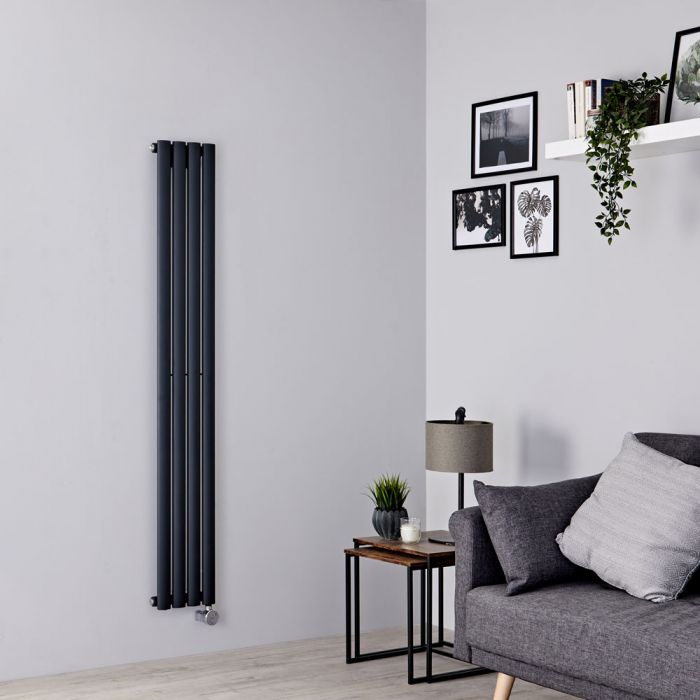 Milano Aruba Slim Electric - Anthracite Vertical Designer Radiator - 1600mm x 236mm