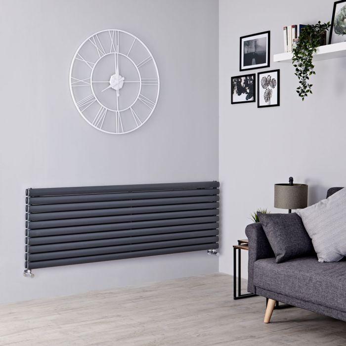 Milano Aruba - Anthracite Horizontal Designer Radiator - 590mm x 1600mm (Double Panel)