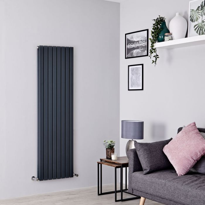 Milano Capri - Anthracite Flat Panel Vertical Designer Radiator - 1600mm x 472mm (Double Panel)