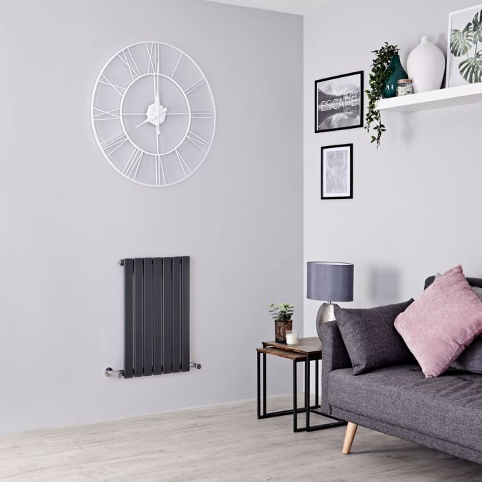 Milano Capri - Anthracite Flat Panel Horizontal Designer Radiator - 635mm x 420mm