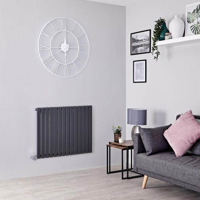 Milano Capri Electric - Anthracite Flat Panel Horizontal Designer Radiator - 635mm x 834mm