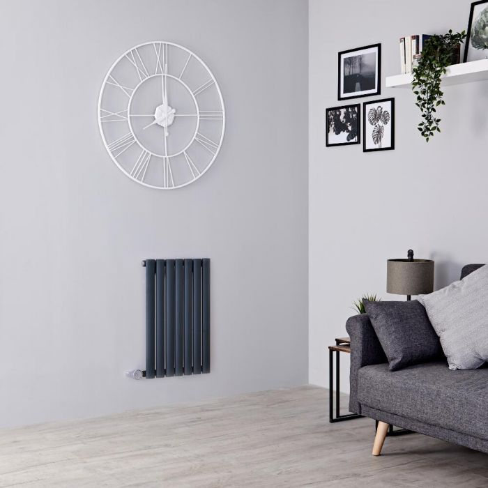 Milano Aruba Electric - Anthracite Horizontal Designer Radiator - 635mm x 413mm