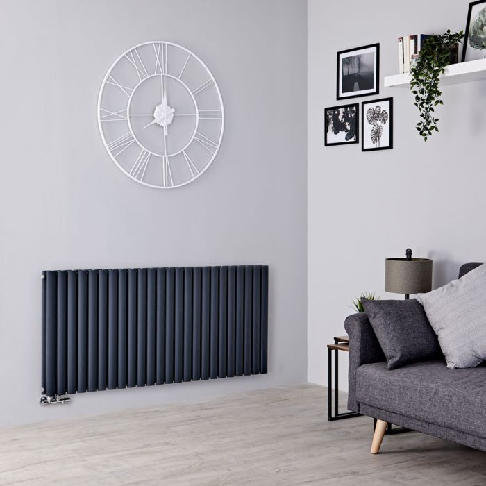 Milano Aruba Flow - Anthracite Horizontal Middle Connection Designer Radiator - 635mm x 1416mm (Double Panel)