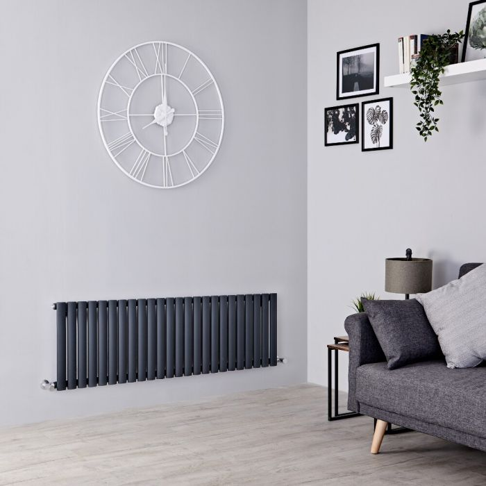 Milano Aruba - Anthracite Horizontal Designer Radiator - 400mm x 1411mm