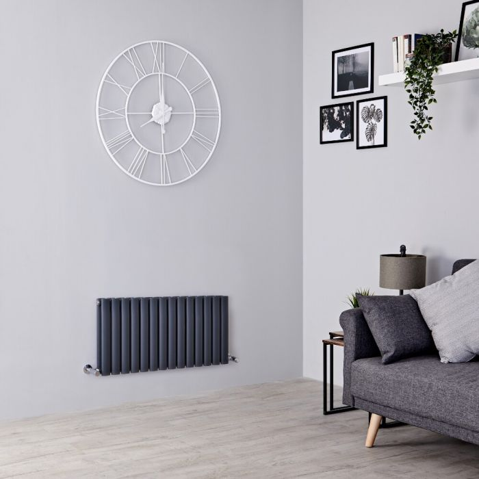 Milano Aruba - Anthracite Horizontal Designer Radiator - 400mm x 826mm (Double Panel)