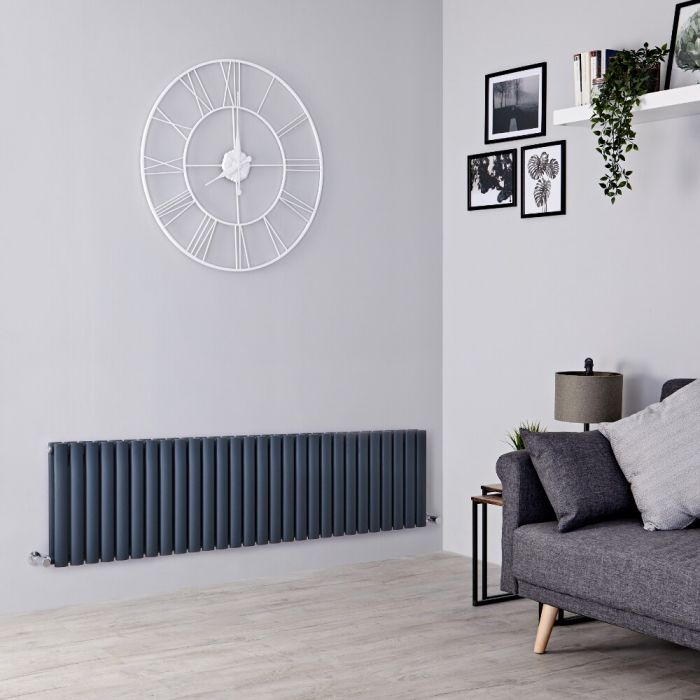 Milano Aruba - Anthracite Horizontal Designer Radiator - 400mm x 1647mm (Double Panel)
