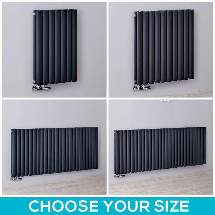 Milano Aruba Flow - 635mm Anthracite Horizontal Middle Connection Designer Radiator - All Sizes