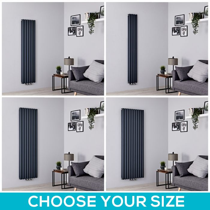 Milano Aruba Flow - Anthracite Vertical Middle Connection Designer Radiator - All Sizes