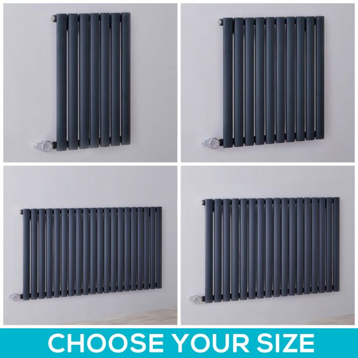 Milano Aruba Electric - Anthracite Horizontal Designer Radiator - 635mm Tall - Choice Of Width