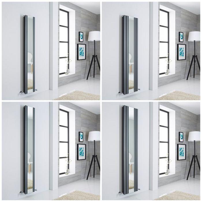 Milano Icon - Anthracite Vertical Designer Radiator with Mirror - All Sizes