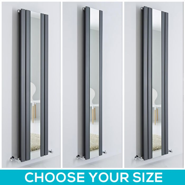 Milano Icon - Anthracite Vertical Designer Radiator with Mirror - All Sizes