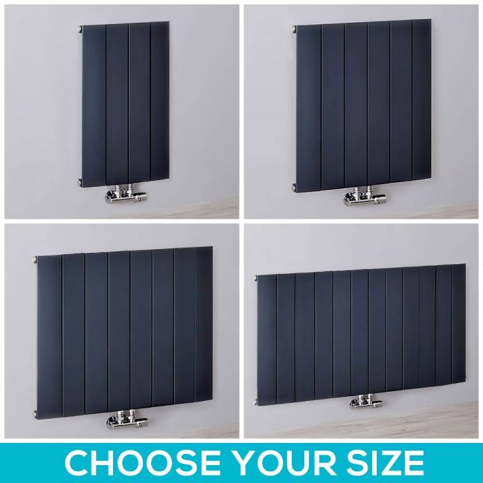 Milano Skye - 600mm Anthracite Aluminium Horizontal Designer Radiator - All Sizes