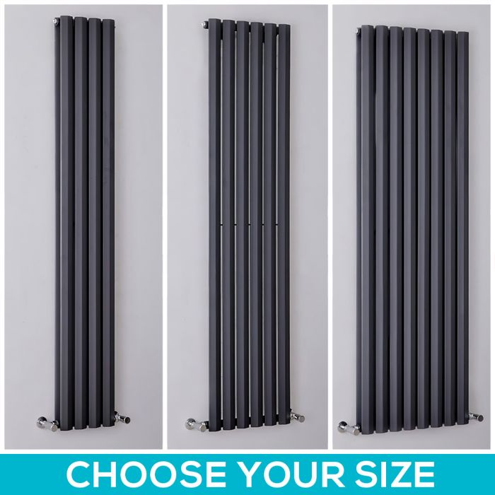 Milano Viti - 1780mm Anthracite Diamond Panel Vertical Designer Radiator - All Sizes