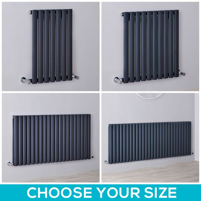Milano Aruba - Anthracite Horizontal Designer Radiator - 635mm Tall - Choice Of Width