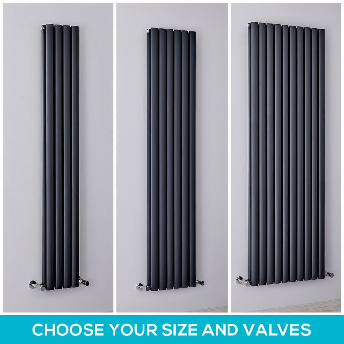 Milano Aruba - Anthracite Vertical Designer Radiator - Choice of Size and Valve Options