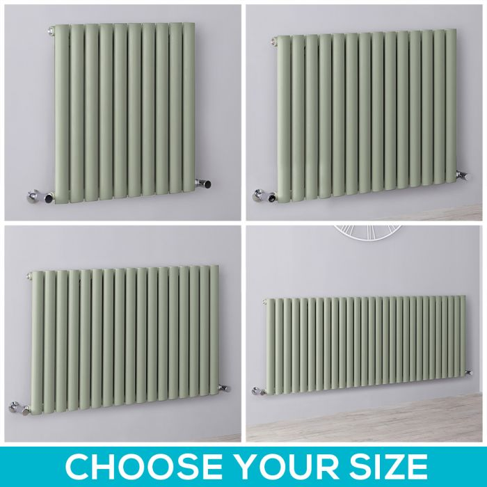 Milano Aruba - Sage Green Horizontal Designer Radiator - All Sizes
