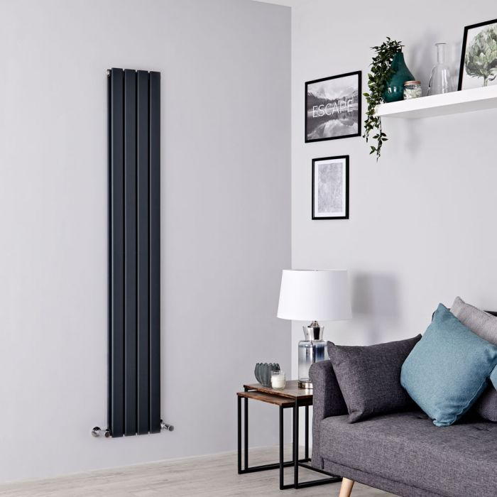 Milano Alpha - Anthracite Flat Panel Vertical Designer Radiator - 1600mm x 280mm (Double Panel)
