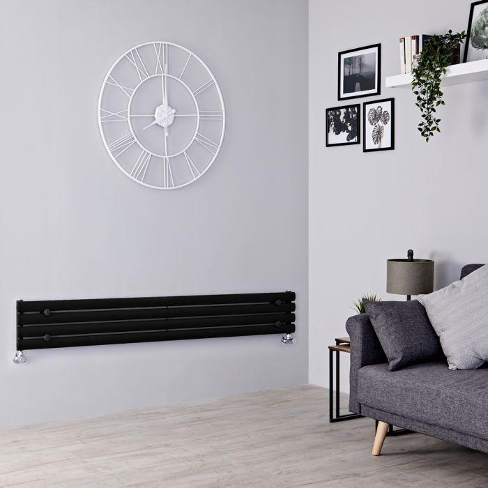 Milano Aruba Slim - Black Space-Saving Horizontal Designer Radiator - 236mm x 1600mm