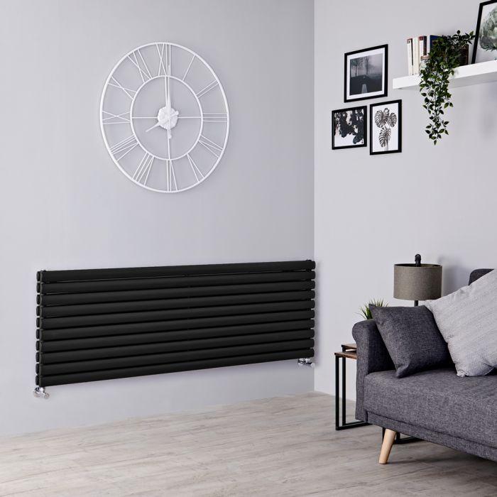 Milano Aruba - Black Horizontal Designer Radiator - 590mm x 1600mm (Double Panel)