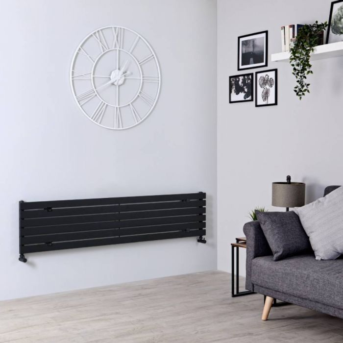 Milano Capri - Black Flat Panel Horizontal Designer Radiator - 354mm x 1600mm