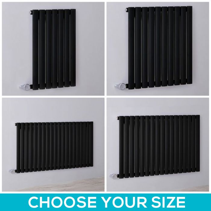 Milano Aruba Electric - 635mm Black Horizontal Designer Radiator - All Sizes