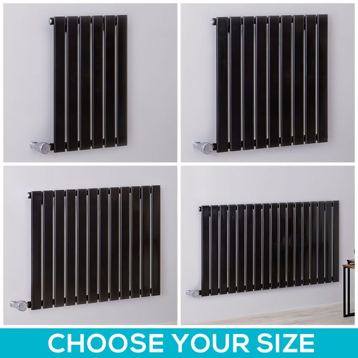 Milano Alpha Electric - Black Horizontal Designer Radiator - 635mm Tall - Choice Of Width