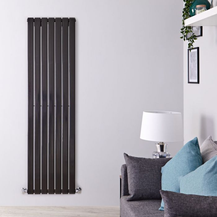 Milano Alpha - Black Flat Panel Vertical Designer Radiator - 1600mm x 490mm