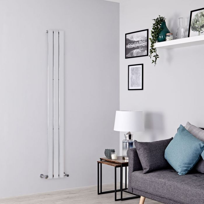 Milano Alpha - Chrome Flat Panel Vertical Designer Radiator - 1600mm x 225mm