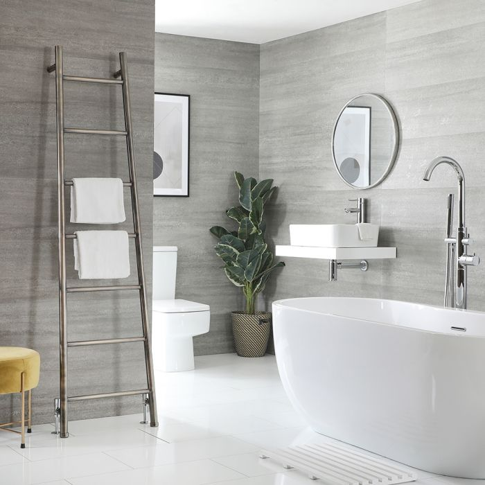 Milano Indus - Brushed Gold Floor-Standing Ladder Heated Towel Rail - 1800mm x 500mm
