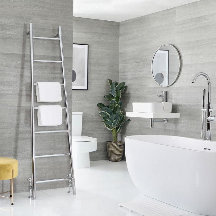 Milano Indus - Chrome Floor-Standing Ladder Heated Towel Rail - 1800mm x 500mm