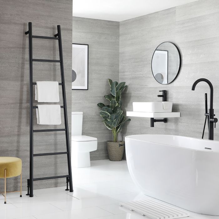 Milano Indus - Black Floor-Standing Ladder Heated Towel Rail - 1800mm x 500mm