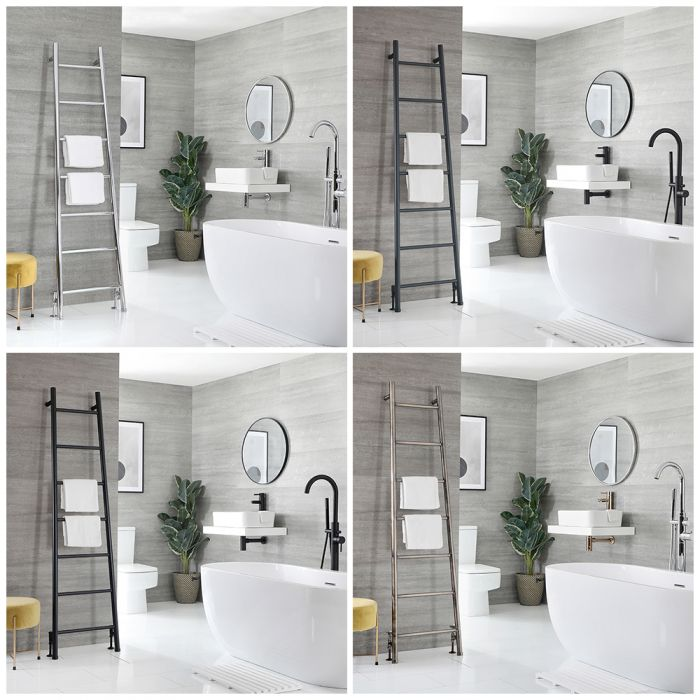 Milano Indus - Floor-Standing Ladder Heated Towel Rail - 1800mm x 500mm - Choice of Finish
