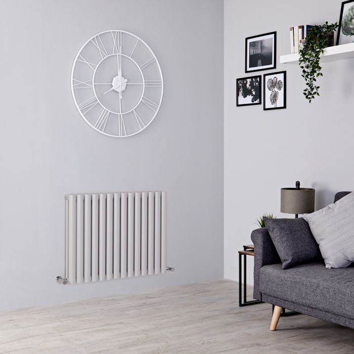 Milano Aruba - Light Grey Horizontal Designer Radiator - 635mm x 834mm (Double Panel)