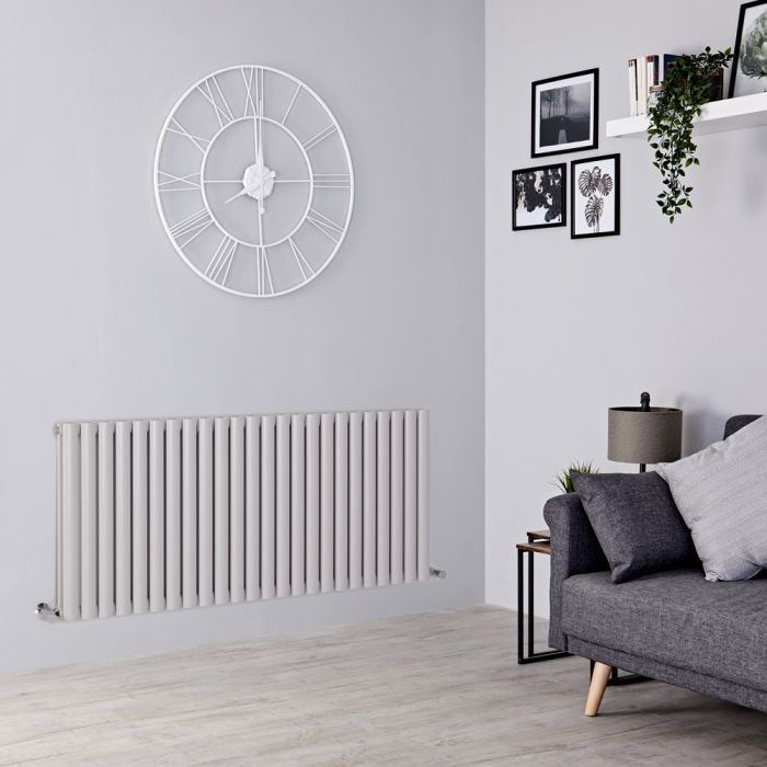 Milano Aruba - Light Grey Horizontal Designer Radiator - 635mm x 1411mm (Double Panel)