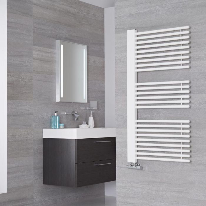 Lazzarini Way Grando - White Designer Heated Towel Rail - 1190mm x 600mm