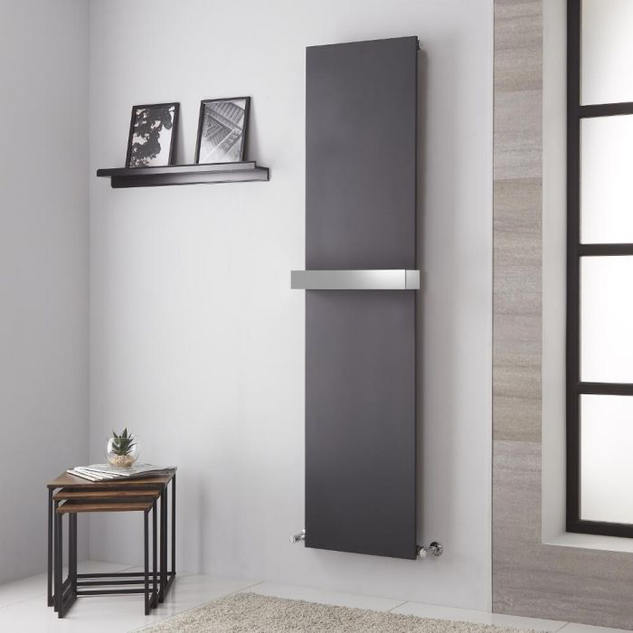 Lazzarini Way Ischia - Anthracite Vertical Designer Radiator - 1800mm x 450mm