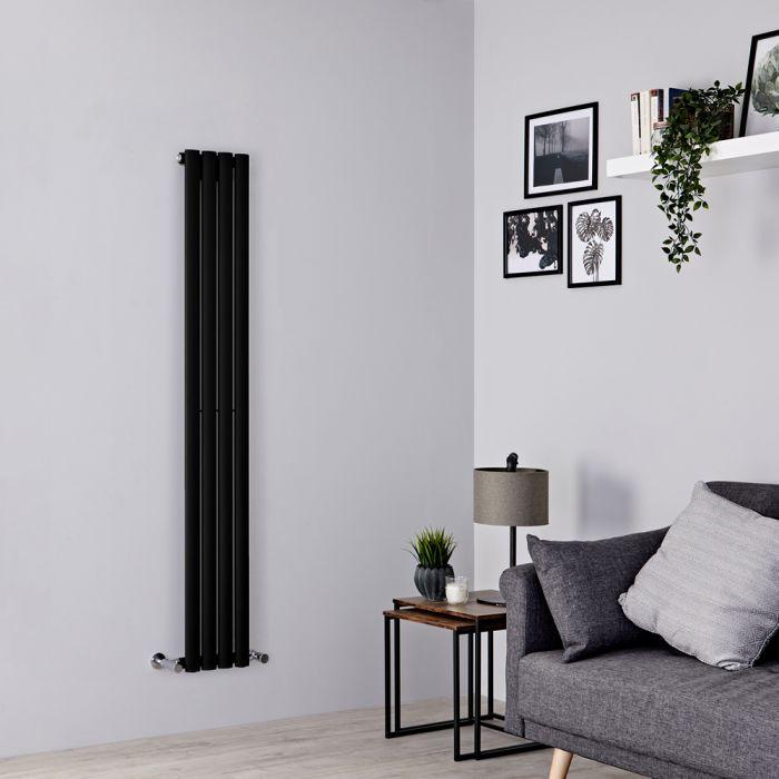 Milano Aruba - Black Space-Saving Vertical Designer Radiator - 1600mm x 236mm