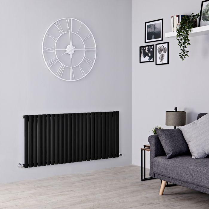 Milano Aruba - Black Horizontal Designer Radiator - 635mm x 1411mm