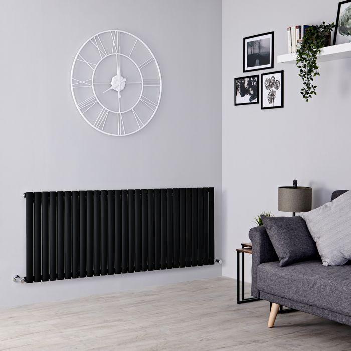 Milano Aruba - Black Horizontal Designer Radiator - 635mm x 1647mm