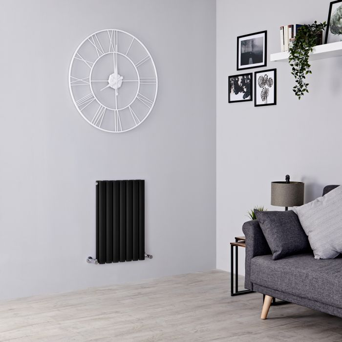 Milano Aruba - Black Horizontal Designer Radiator - 635mm x 413mm (Double Panel)