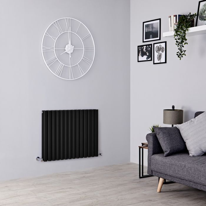 Milano Aruba - Black Horizontal Designer Radiator - 635mm x 834mm (Double Panel)